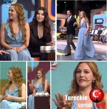 Турецкие актеры Мерьем Узерли Бора Аккаш и Озан Гювен на Беяз шоу